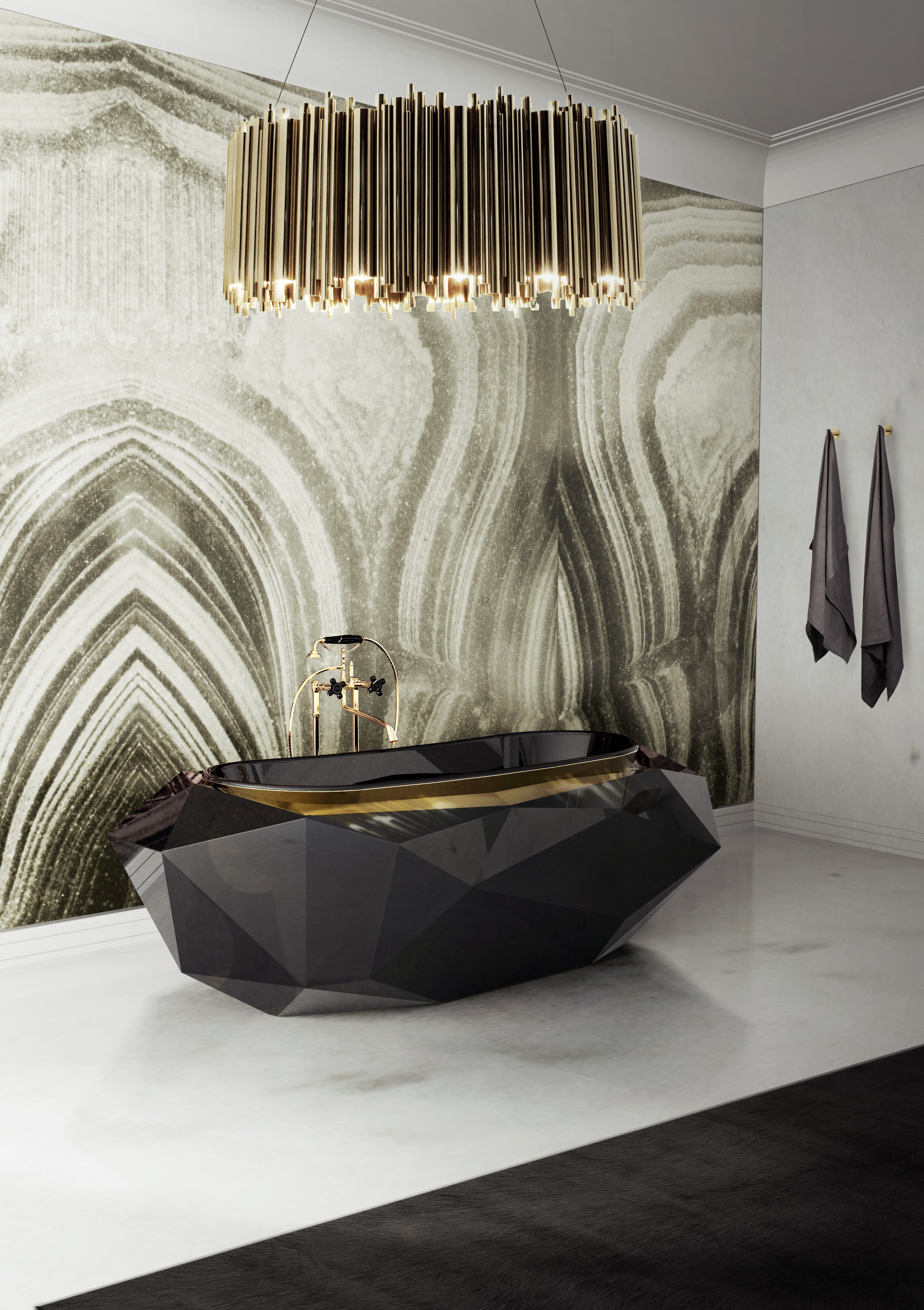 September Edition: Luxury Must-Haves Of The Month September Edition September Edition: Luxury Must-Haves Of The Month a fantastic private oasis with the bold diamond bathtub and the sumptuous matheny suspension