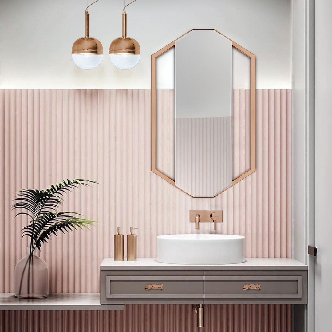 Pink Interiors: The Importance of Color In Interior Design pink interiors Pink Interiors: The Importance of Color In Interior Design amazing pink bathroom with sapphire mirror and the iconic koi round vessel sink