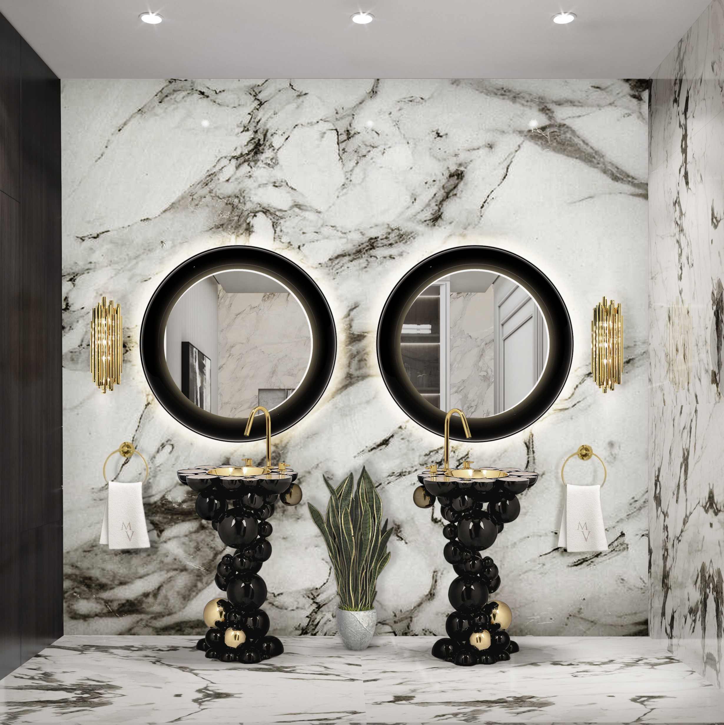 Bathroom Mirrors To Get A Luxurious Decor bathroom mirrors Bathroom Mirrors To Get A Luxurious Decor black and marble main bathroom with newton freestanding and ring mirror