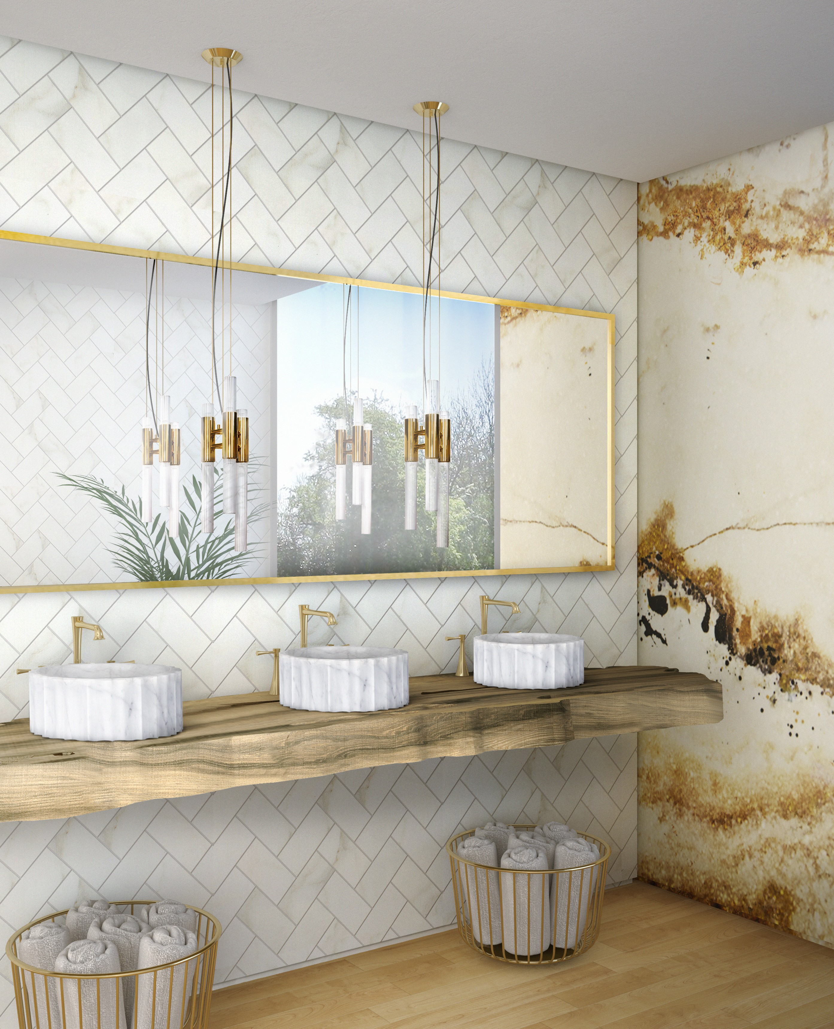 Scandinavian Style Meets Luxury Bathrooms scandinavian style Scandinavian Style Meets Luxury Bathrooms bright hotel bathroom with symphony vessel sink and gold onyx surface