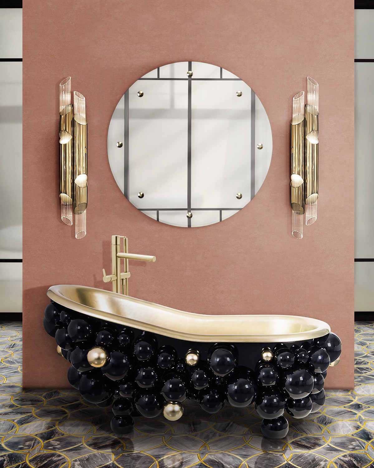 Pink Interiors: The Importance of Color In Interior Design pink interiors Pink Interiors: The Importance of Color In Interior Design coral pink bathroom with newton bathtub and glimmer mirror