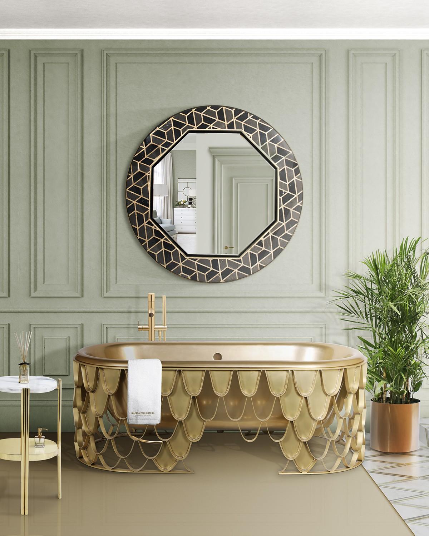 Bathroom Mirrors To Get A Luxurious Decor bathroom mirrors Bathroom Mirrors To Get A Luxurious Decor eclectic bathroom featuring koi bathtub and tortoise mirror