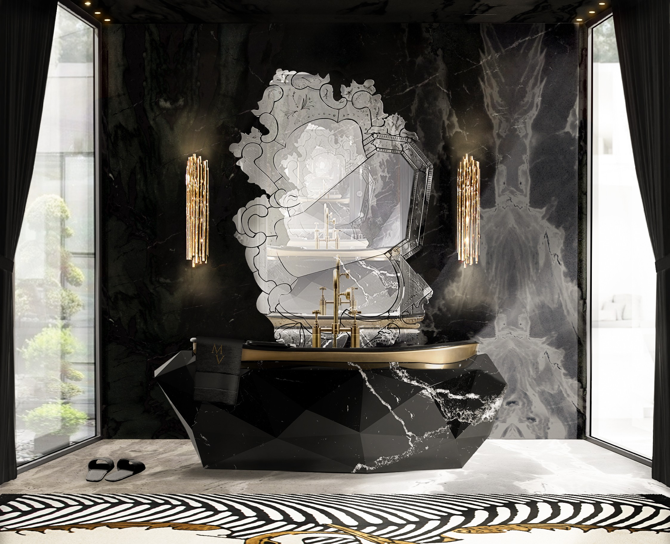 September Edition: Luxury Must-Haves Of The Month September Edition September Edition: Luxury Must-Haves Of The Month elegant bathroom with diamond bathtub in nero marquina faux marble