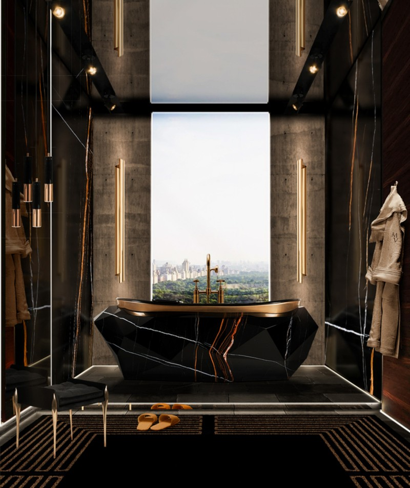 Bathroom Inspirations To Get The Perfect Home Oasis Bathroom Inspirations Bathroom Inspirations To Get The Perfect Home Oasis majestic bathroom with diamond bathtub in sahara noir faux marble