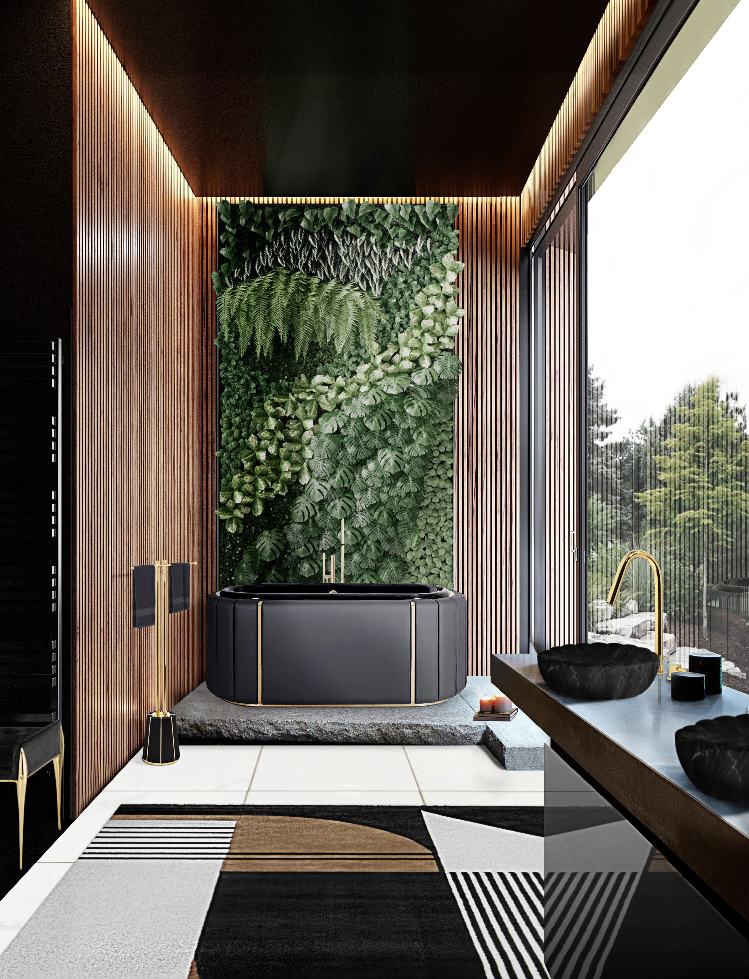 Biophilic Designs: New Trend for Bathroom Interiors Biophilic Designs Biophilic Designs: New Trend for Bathroom Interiors nature inspired bathroom design with darian bathtub and antelope rug