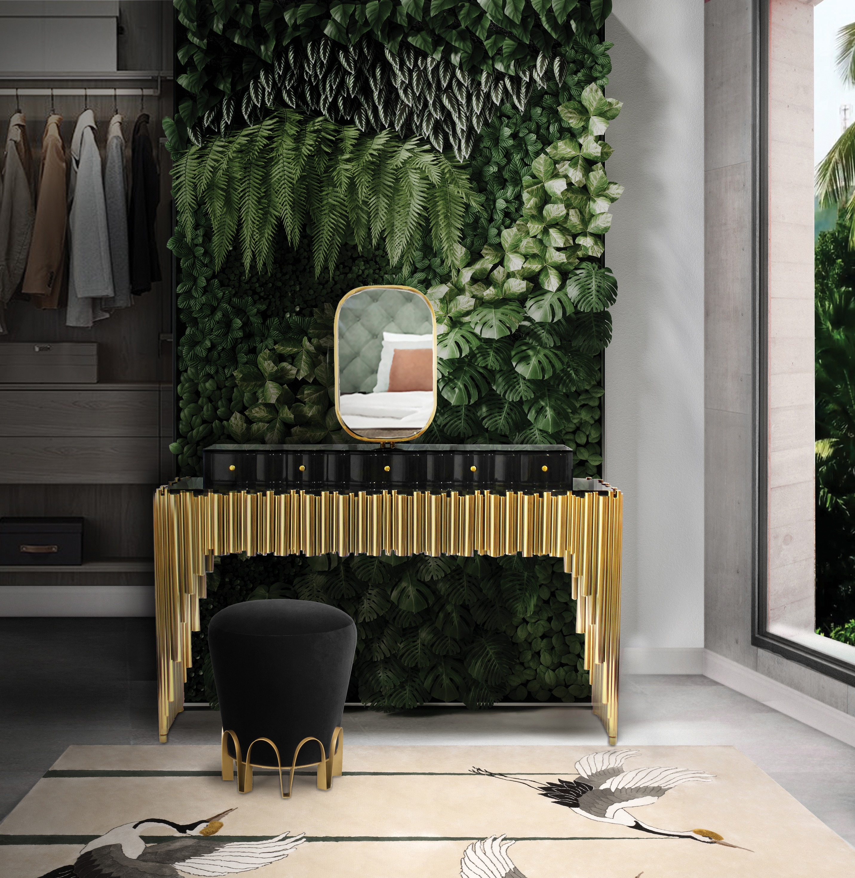 Biophilic Designs: New Trend for Bathroom Interiors Biophilic Designs Biophilic Designs: New Trend for Bathroom Interiors nature inspired dressing room with symphony dressing table