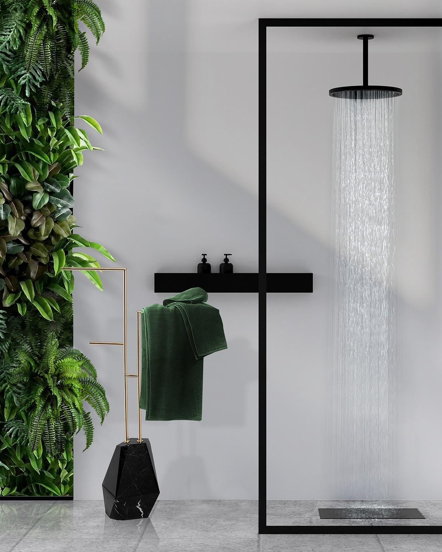 Biophilic Designs: New Trend for Bathroom Interiors Biophilic Designs Biophilic Designs: New Trend for Bathroom Interiors sleek bathroom design with diamond towel rack