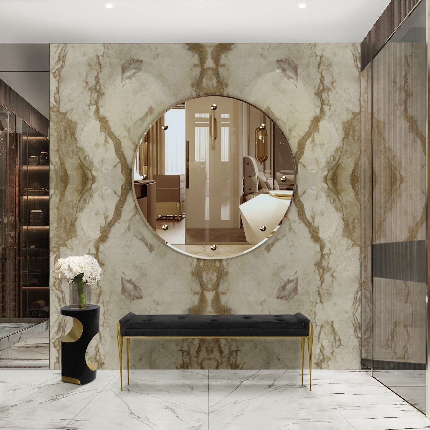 Bathroom Mirrors To Get A Luxurious Decor bathroom mirrors Bathroom Mirrors To Get A Luxurious Decor sophisticated and majestic master suite with design vanity mirror and bench