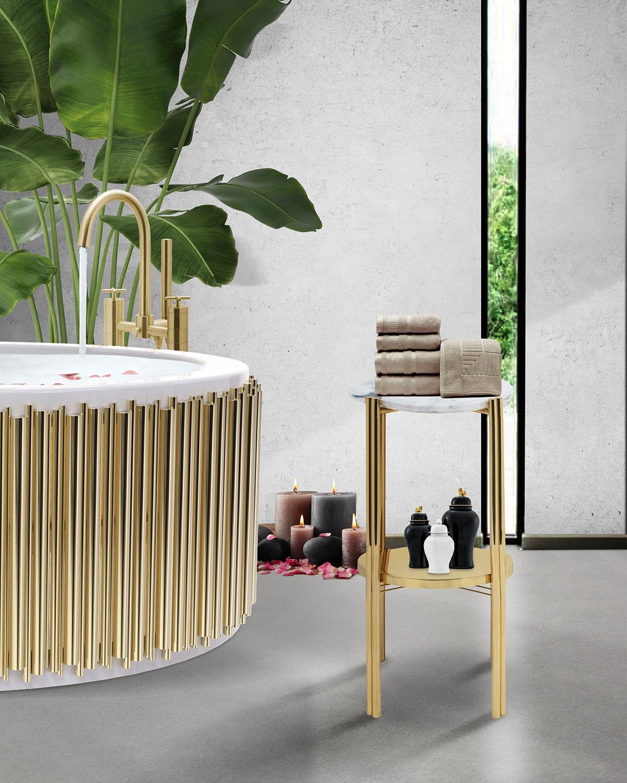 Biophilic Designs: New Trend for Bathroom Interiors Biophilic Designs Biophilic Designs: New Trend for Bathroom Interiors the golden tones of craig column cabinet and symphony bathtub on a modern bathroom