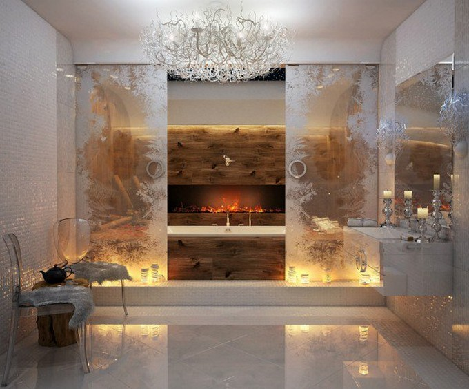 15 Bathrooms with fireplace luxury bathrooms 15 Luxury Bathrooms with Fireplaces 2 Glamorous bathroom 600x497