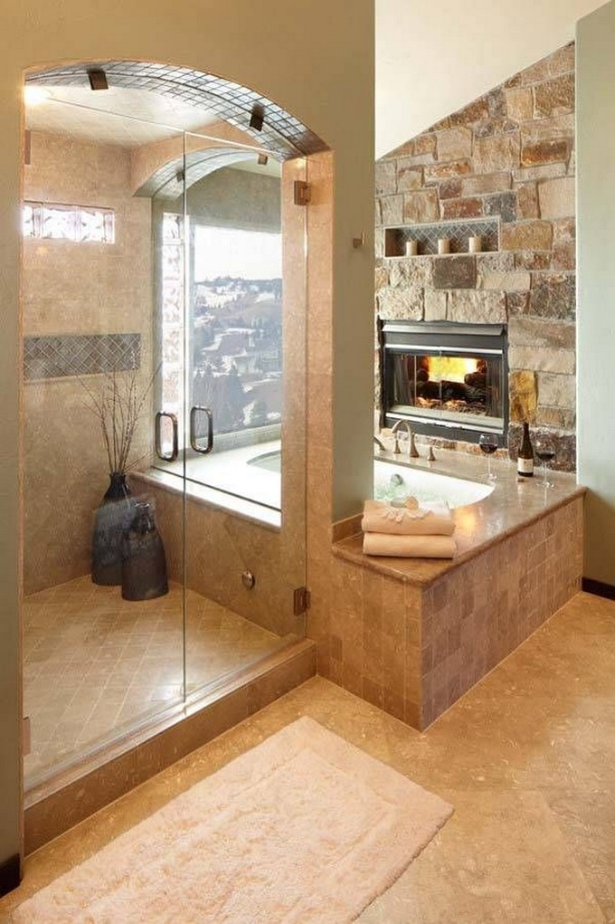 15 Bathrooms with fireplace luxury bathrooms 15 Luxury Bathrooms with Fireplaces 5f6996fec7e0c617de5cd6c8d478df53
