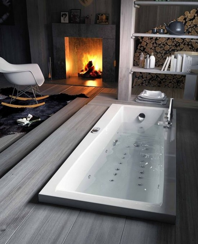 15 Bathrooms with fireplace luxury bathrooms 15 Luxury Bathrooms with Fireplaces f123977304a5db72689058f6d79728ae