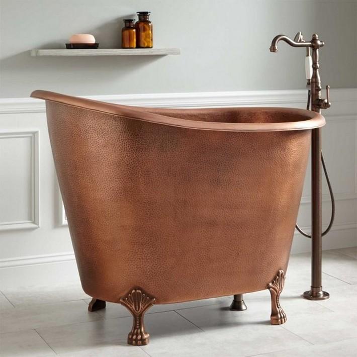 Copper Clawfoot Soaking Mini Tub Thumb 630xauto 57525 Small Bathtubs1 Bathrooms
