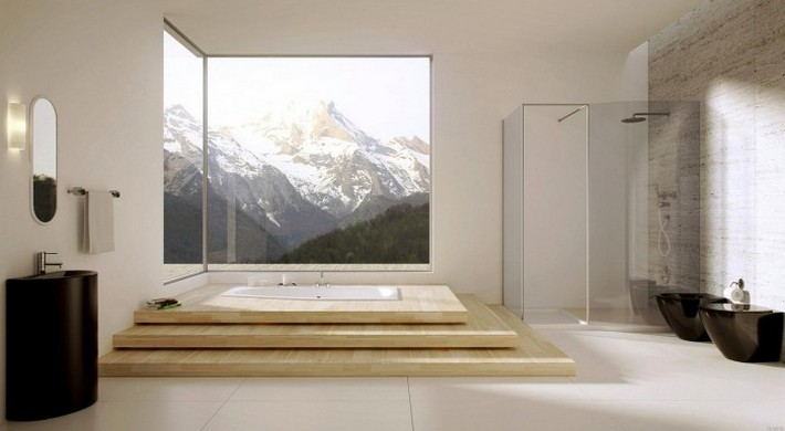 Modern-bathroom-with-large-windows-700x385  Luxury Bathrooms with Spa's Touch Modern bathroom with large windows 700x385