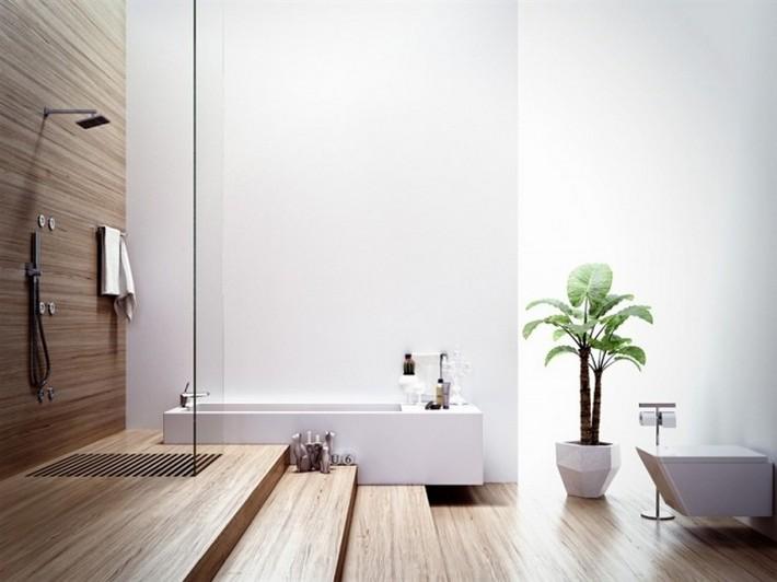 Modern-bathroom-with-wood-elements-700x525  Luxury Bathrooms with Spa's Touch Modern bathroom with wood elements 700x525
