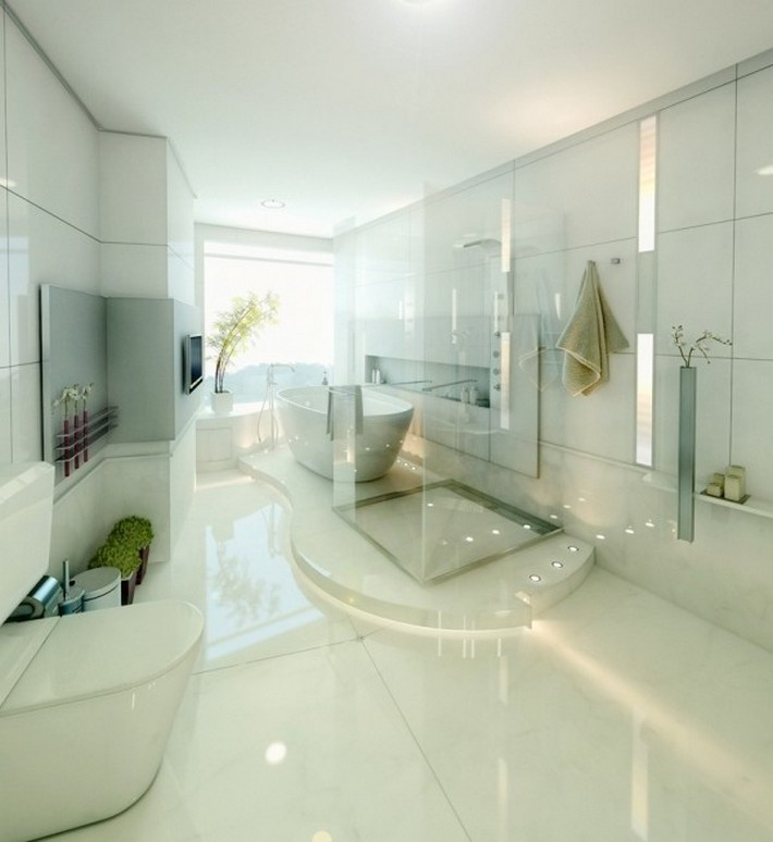 modern bathrooms maison valentina  modern bathrooms Sunlight Gorgeous and Modern Bathrooms Shiny White with Natural Accents