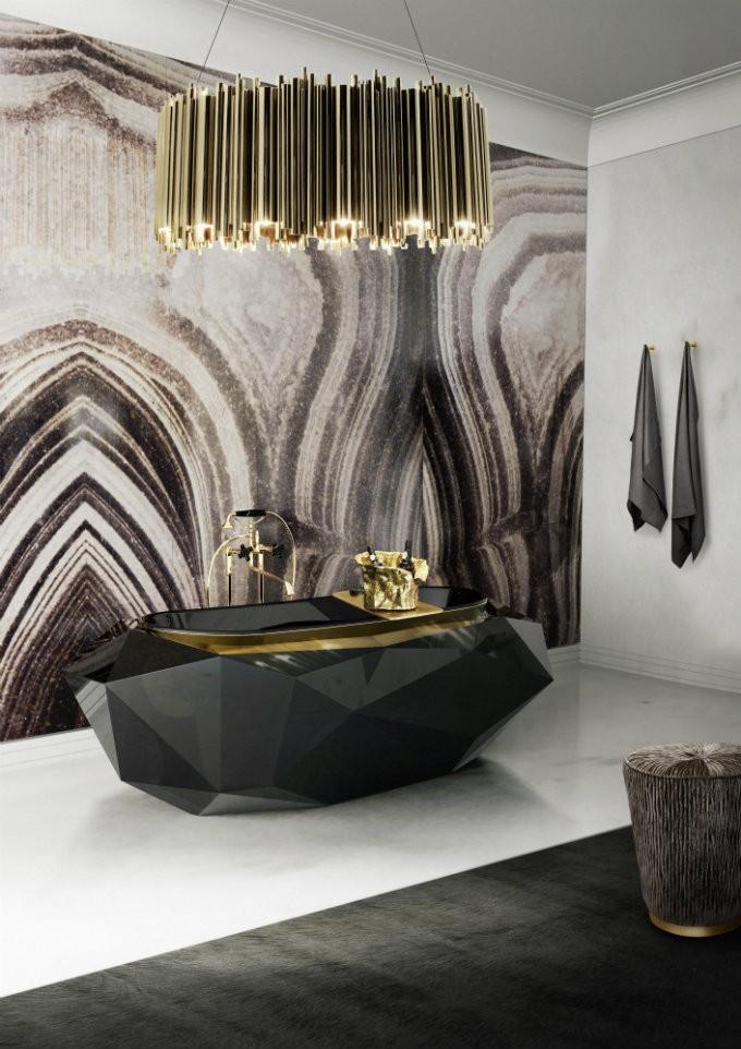 The perfect crystal chandelier for your luxury bathroom the right tips for your luxury bathroom maison valentina diamond bathtub black indulgence luxury bathroom the aloadofball Gallery