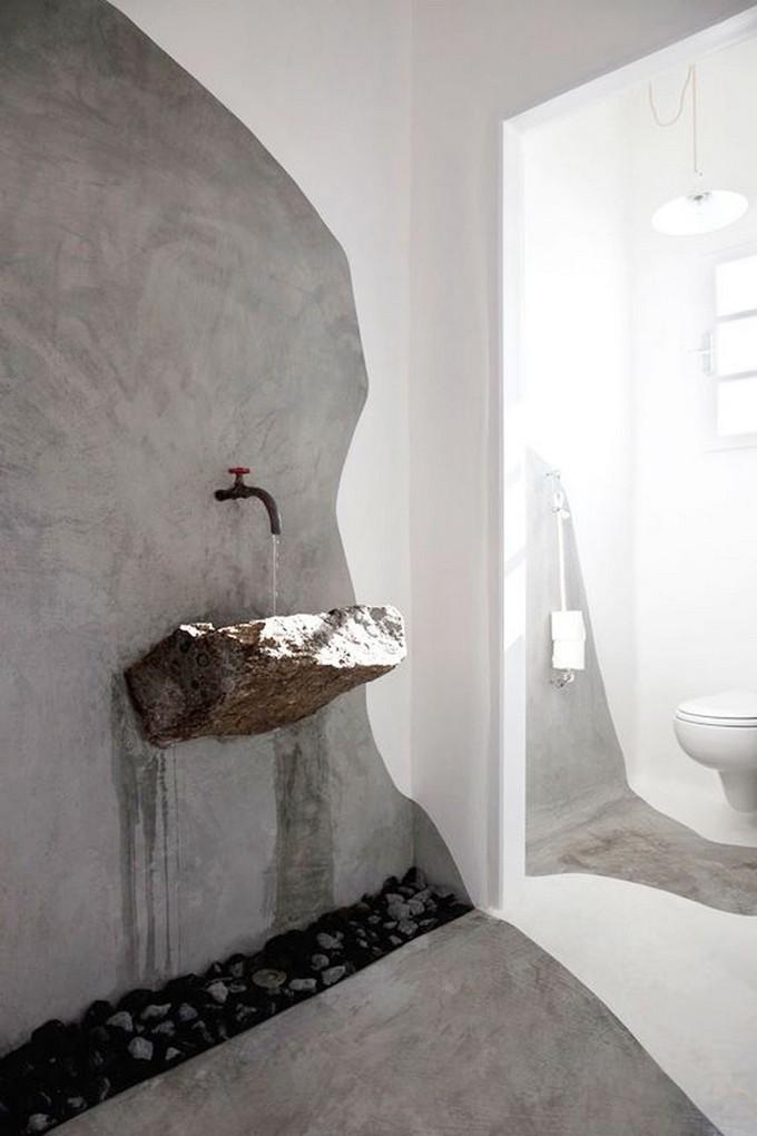 Modern bathroom design with rocks for Rock bathroom designs