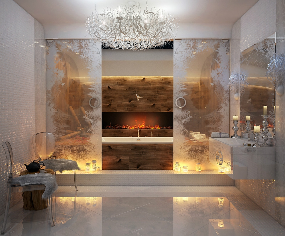 bathrooms with fireplaces - maison valentina1
