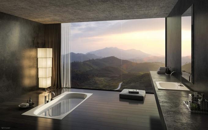 Modern bathrooms with mountain views - Luxury modern bathroom ...