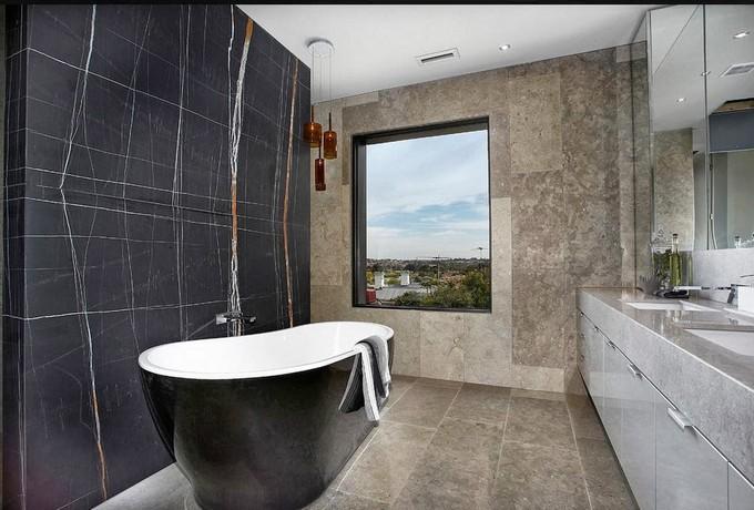 bathroom with bold and roud bathtub maison valentina  round bathtubs 10 Round Bathtubs Ideas church4