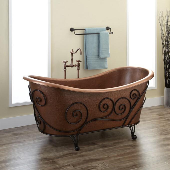 17 Gold Bathroom Designs With Copper Bathtub