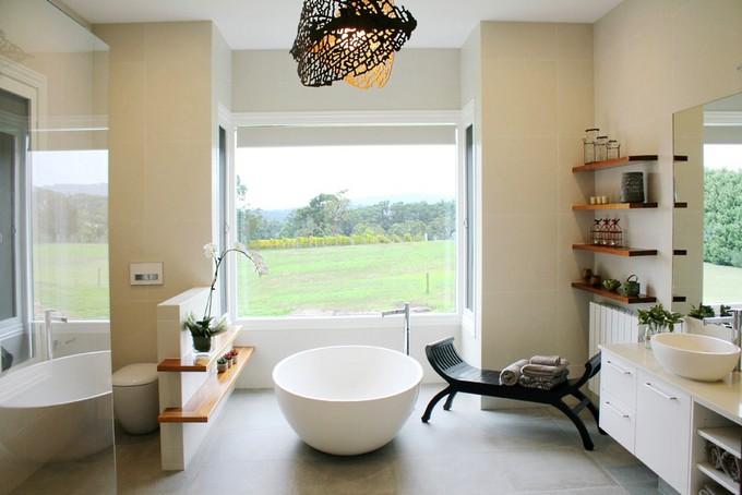 rustic bathroom with round bathtubs  10 Round Bathtubs Ideas rustic bathroom
