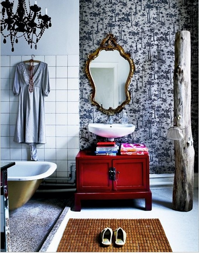Chic Bohemian Bathroom Idea Black Chandelier Vintage Mirror With Golden Frame Cabinet In Red