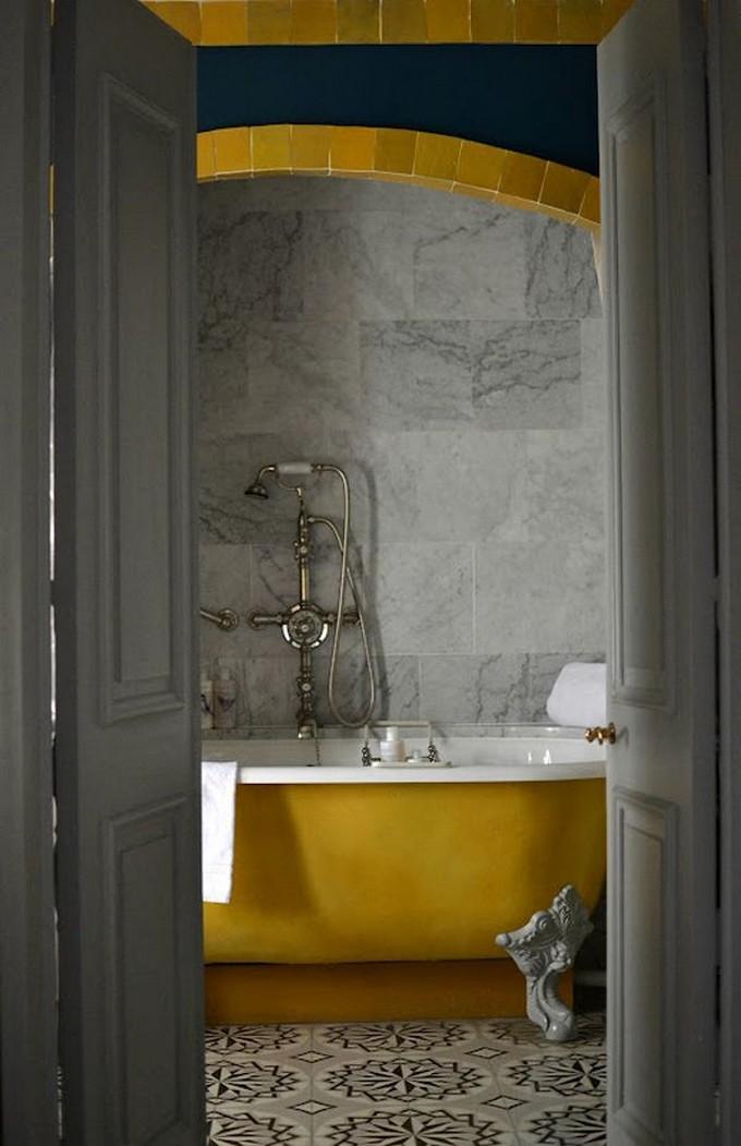 Yellow and Grey Bathroom