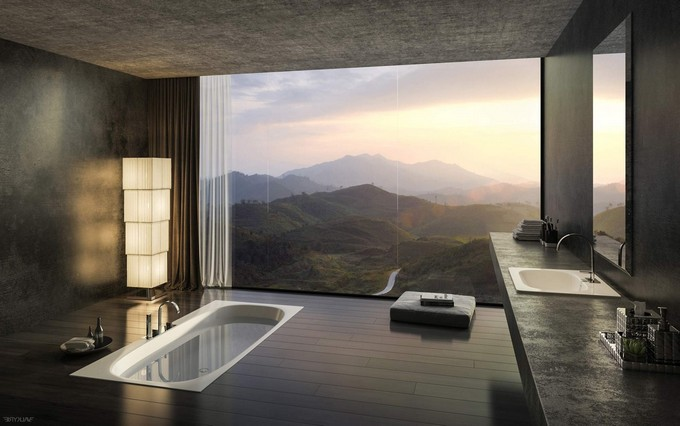 Floor To Ceiling Windows make a splash into your bathroom with floor-to-ceiling windows