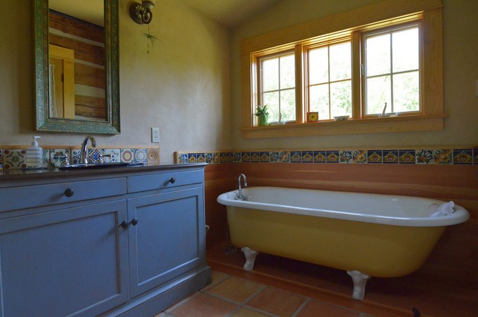 Saltillo Tile Bathroom Rustic With Blue Cabinets Cabin
