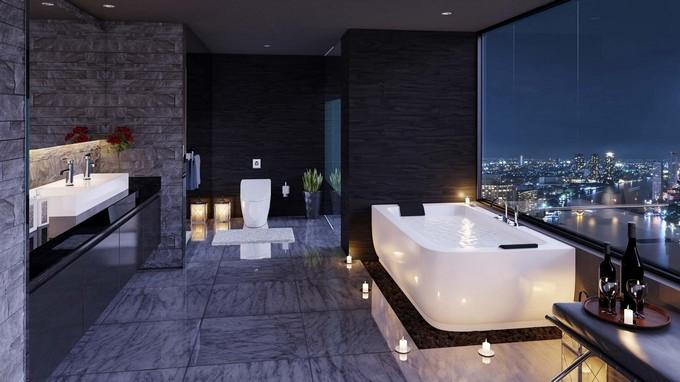 sleek-bathroom-with-city-views-and-floor-candles-32 spa bathroom Luxury Spa Bathroom Ideas to Create your Private Heaven sleek bathroom with city views and floor candles 32
