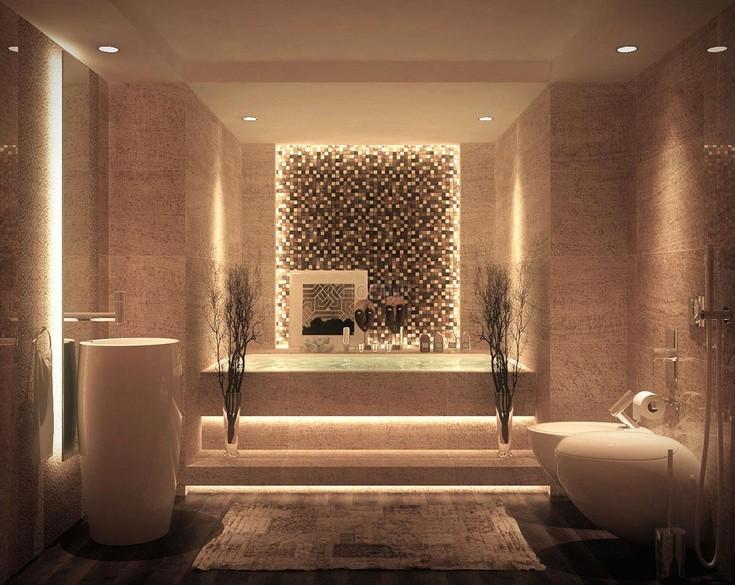 ديكور حمامات باللون البني بديكورات
