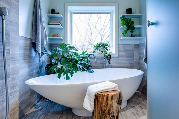 there-is-no-shortage-of-greenery-in-this-contemporary-bathroom-with-a-tropical-edge  9 Ways to Create a Luxurious Bathroom There is no shortage of greenery in this contemporary bathroom with a tropical edge