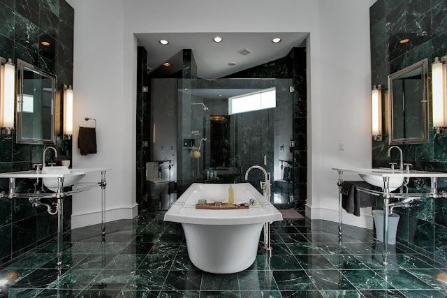 Green marble bathroom ideas for this spring for Dark green bathroom accessories