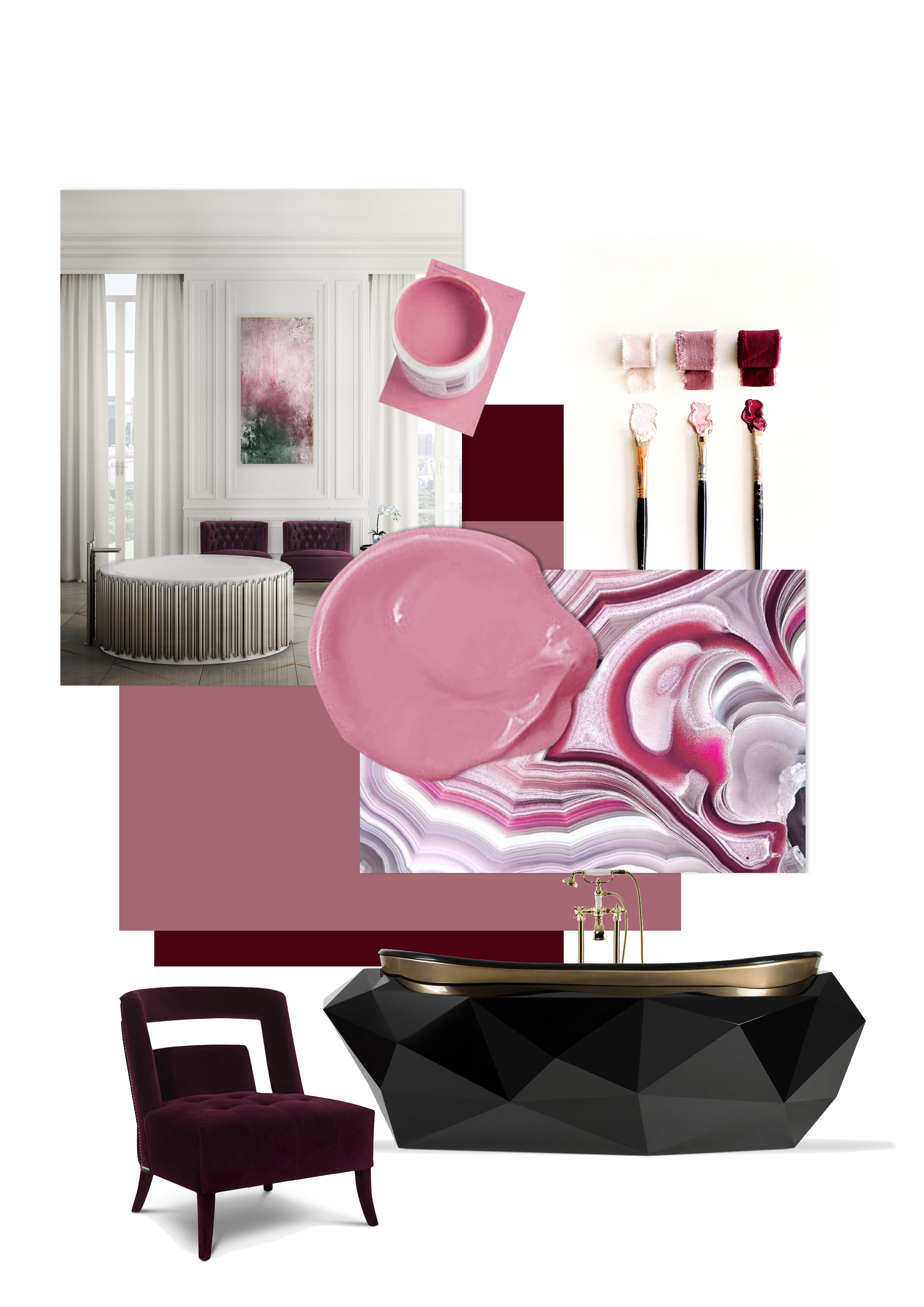 Inspirational and Colorful Moodboards for a Bathroom Makeover